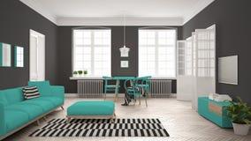 Ljus minimalist vardagsrum med soffan och äta middagtabellen, scandi Arkivfoton