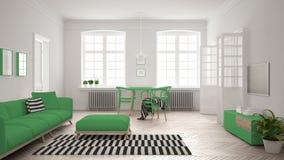 Ljus minimalist vardagsrum med soffan och äta middagtabellen, scandi Arkivbild