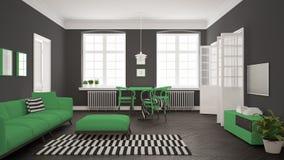 Ljus minimalist vardagsrum med soffan och äta middagtabellen, scandi Royaltyfri Bild