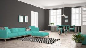 Ljus minimalist vardagsrum med soffan och äta middagtabellen, scandi Fotografering för Bildbyråer