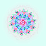 Ljus mosaikbakgrund i en rund form Färgrik abstrakt prydnad Arkivbilder