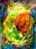 Ljus mystiker - grön vattenfe, härlig färgrik fantasimålning Arkivfoto