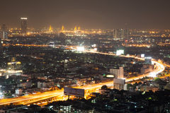 Ljus nattstad i bangkoken Royaltyfri Fotografi