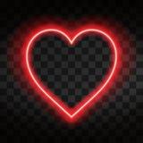 Ljus neonhjärta Hjärtatecken på mörk genomskinlig bakgrund Neonglödeffekt stock illustrationer