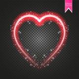 Ljus neonhjärta Hjärtatecken på mörk genomskinlig bakgrund Neonglödeffekt vektor Arkivbilder