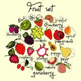 Ljus och färgrik fruktuppsättning Royaltyfria Bilder