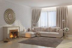 Ljus och hemtrevlig vardagsrum med spisen och spegeln Royaltyfria Bilder
