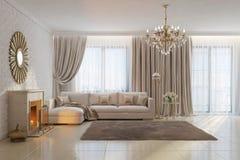 Ljus och hemtrevlig vardagsrum med spisen och spegeln Royaltyfri Foto