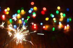 Ljus och leksaker 14 för ` s för nytt år Royaltyfri Foto