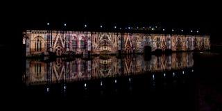 Ljus och ljudshow i Strasbourg Royaltyfri Bild