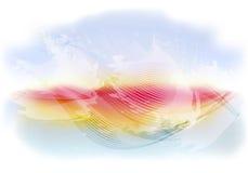 Ljus och ljus abstrakt himmelbakgrund med flygmoln, vågor på solnedgången Illustration för vektor EPS10 Arkivbilder