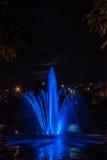 Ljus och musikspringbrunn på Rusanovka Fotografering för Bildbyråer