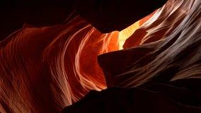 Ljus och sandsten, övreantilopkanjon, Arizona Arkivfoto