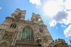 Ljus och solen blossar på den London Westminster abbotskloster Royaltyfria Bilder