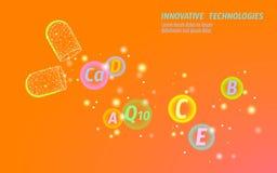 Ljus orange öppnad drogkapsel Bot för hälsovård för vitaminer för medikament för blått för medicinbanermall glödande prebiotic royaltyfri illustrationer