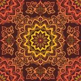 Ljus orange Mandala Pattern prydnad på röd bakgrund vektor illustrationer