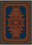 Ljus orientalisk matta med den original- modellen på en blå bakgrund Arkivfoton