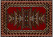 Ljus orientalisk matta med den original- modellen på en röd bakgrund Royaltyfri Bild