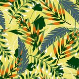 Ljus original- sömlös modell för sommar med tropiska sidor och växter på ett ljust - gul bakgrund f?r designeps f?r 10 bakgrund v royaltyfri illustrationer