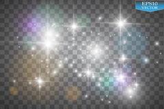 Ljus på genomskinlig bakgrund Vektorvit blänker vågabstrakt begreppillustrationen Vit brusande för slinga för stjärnadamm stock illustrationer
