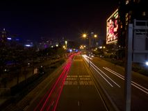Ljus på Nathan Road Hong Kong Royaltyfri Fotografi