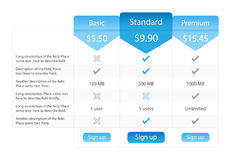 Ljus prissättningtabell med 3 alternativ och en recomme Arkivfoto