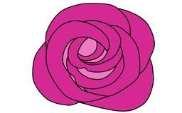 Ljus purpurfärgad ros på en vit bakgrund, blommaillustration royaltyfri illustrationer