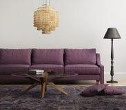 Ljus - purpurfärgad elegant stilfull vardagsrum Arkivfoton