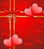 Ljus röd bakgrund med hjärtor stock illustrationer