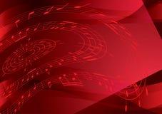 Ljus röd bakgrund med musikanmärkningar stock illustrationer