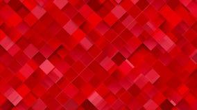 Ljus röd geometrisk animering för fyrkantmosaikvideo arkivfilmer