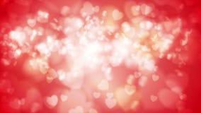 Ljus röd glödande animering för bokehhjärtavideo stock illustrationer