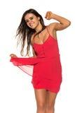 Ljus röd klänning Arkivbilder