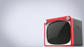 Ljus röd retro stilTVuppsättning med svart tillbaka royaltyfri illustrationer