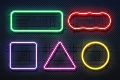 Ljus ram för neon Retro banerbeståndsdel, futuristisk purpurfärgad elektrisk gräns, baner för neonglödrektangel Realistisk vektor royaltyfri illustrationer