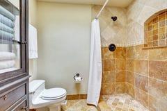 Ljus ren inre av badrummet med den bruna tegelplattan Royaltyfri Fotografi