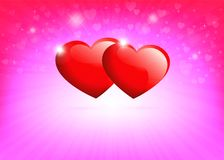 Ljus - rosa bakgrund med konturer av röda hjärtor och strålar av ljus Royaltyfri Foto