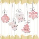 Ljus - rosa pastellfärgad etikett på julbakgrund Arkivbild