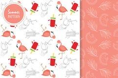 Ljus - rosa röd vit sömlös modell med flamingo, glass Royaltyfri Fotografi