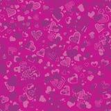 Ljus rosa sömlös modell med hjärtor Arkivfoton