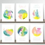 Ljus - rosa samling för blå gräsplan för baner, reklamblad, plakat Royaltyfri Foto