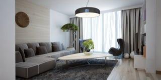 Ljus rymlig design av den moderna vardagsrummet Royaltyfria Bilder