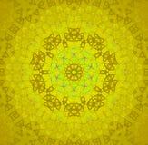 Ljus sömlös blom- prydnad som är guld- och - centrerat grönt stock illustrationer
