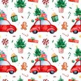 Ljus sömlös modell med julgranen, godis, röd retro bil, gåva och mer royaltyfri illustrationer