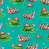 Ljus sömlös modell med roliga tecknad filmdjur Hand-drog vattenfärgsköldpaddor och sniglar med blommor vektor illustrationer