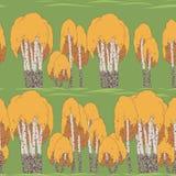 Ljus sömlös textur av björken på gräset Stock Illustrationer