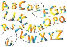 Ljus samling för vektoralfabetbokstäver på svartlinjer som isoleras på vit bakgrund Arkivfoton