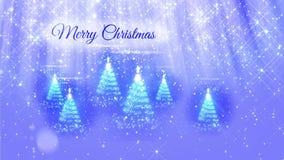 Ljus sammansättning för bakgrund för glad jul med julgranen många 3d från blänker partiklar, mousserar stjärnor stock video