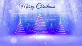 Ljus sammansättning för bakgrund för glad jul med julgranen många 3d från blänker partiklar, mousserar stjärnor arkivfilmer