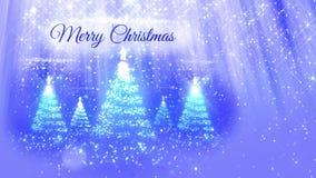 Ljus sammansättning för bakgrund för glad jul med julgranen många 3d från blänker partiklar, mousserar stjärnor lager videofilmer